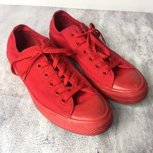 Converse All Stars Red Low Top Sneakers Size 8/10